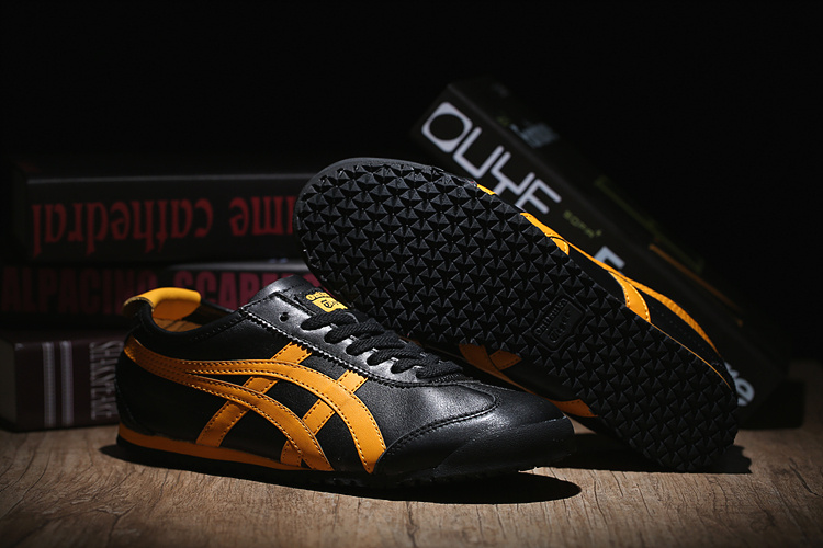 Mens Onitsuka Tiger (Black/ Yellow) Mexico 66 Shoes