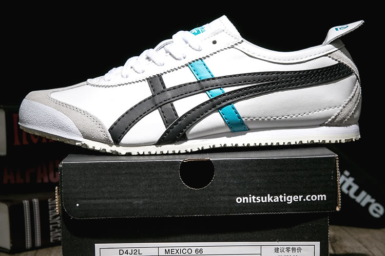 Onitsuka Tiger Mexico 66 Shoes (White/ Black/ turquoise) - Click Image to Close
