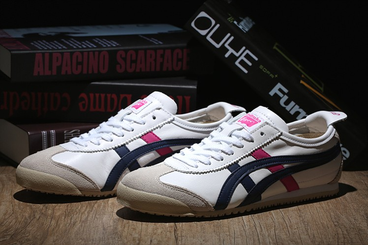 (White/ DK Blue/ Peach) Onitsuka Tiger Mexico 66 Shoes - Click Image to Close