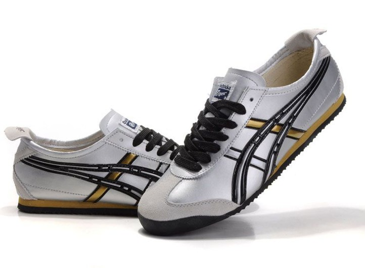Mens Onitsuka Tiger Mexico 66 Shoes (Silver/ Black/ Gold)