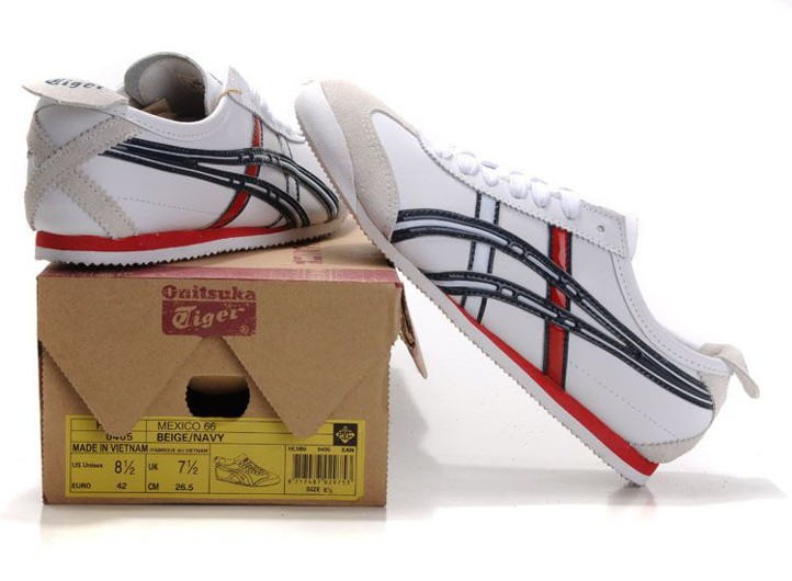 Mens Onitsuka Tiger Mexico 66 Shoes (White/ Black/ Red)