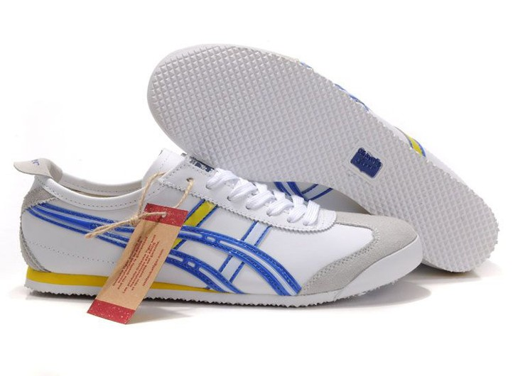 Mens Onitsuka Tiger Mexico 66 Shoes (White/ Blue/ Yellow)