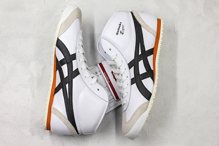 (White/ Black/ Orange) Onitsuka Tiger Mexico Mid Runner Shoes - Click Image to Close