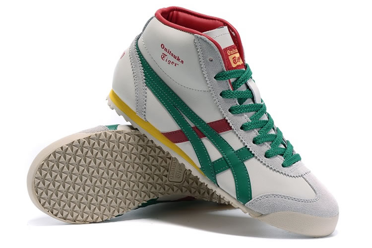 Onitsuka Tiger Mexico Mid Runner (Beige/ Green/ Red) Shoes