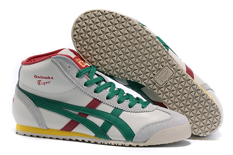 Onitsuka Tiger Mexico Mid Runner (Beige/ Green/ Red) Shoes - Click Image to Close