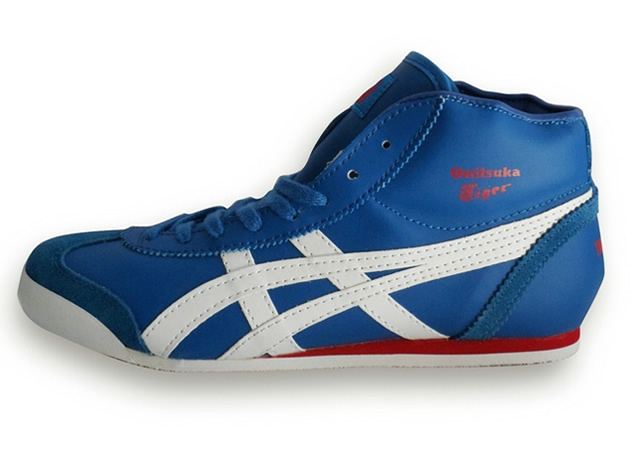 (Blue/ White/ Red) Onitsuka Tiger Mid Runner Shoes (Added Villus)