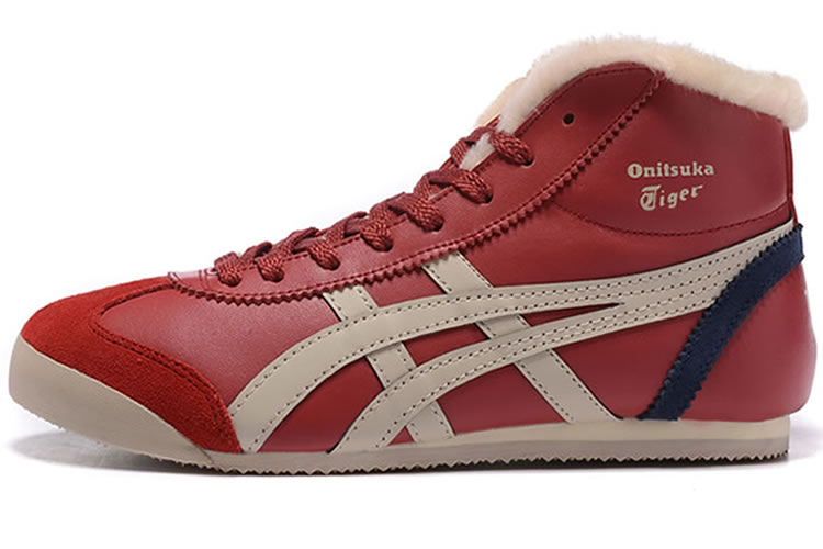 (Red/ Beige/ Navy) Onitsuka Tiger Mid Runner Shoes (Added Villus)