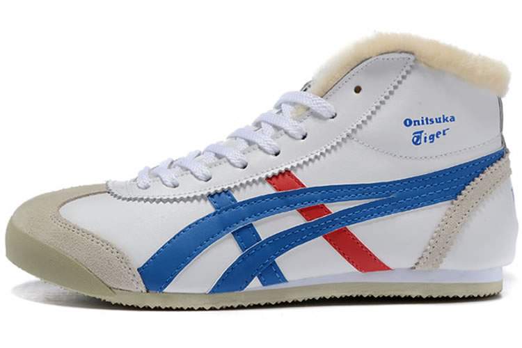 (White/ Blue/ Red) Onitsuka Tiger Mid Runner Shoes (Added Villus)
