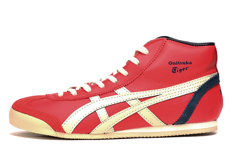 (Red/ Beige/ Navy) Onitsuka Tiger Mid Runner Shoes - Click Image to Close