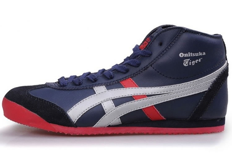 (Navy/ Silver/ Red) Onitsuka Tiger Mexico Mid Runner Shoes