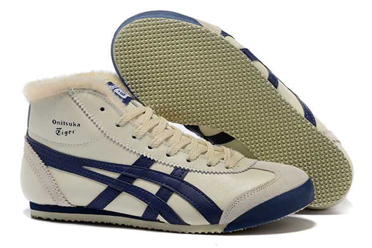 Onitsuka Tiger Mexico Mid Runner (Beige/ DK Blue) Shoes