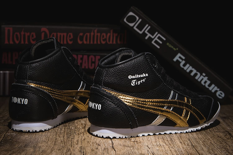(Black/ Gold/ Silver) Onitsuka Tiger Mexico Mid Runner New Shoes