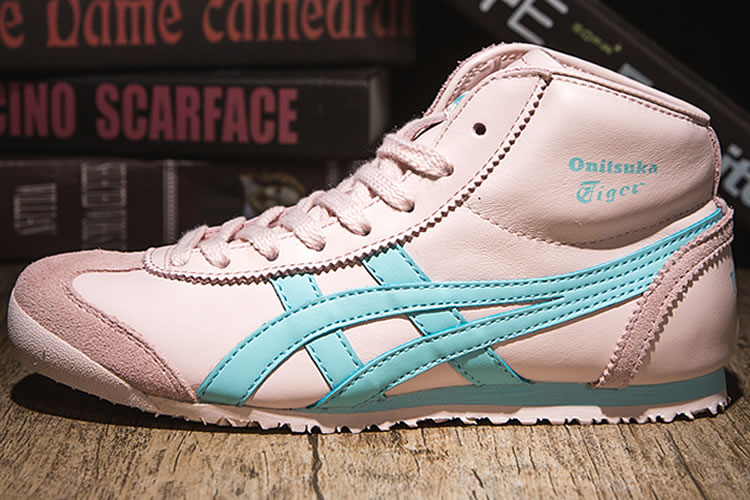 (Pink/ LT Blue) Onitsuka Tiger Mexico Mid Runner Women Shoes - Click Image to Close