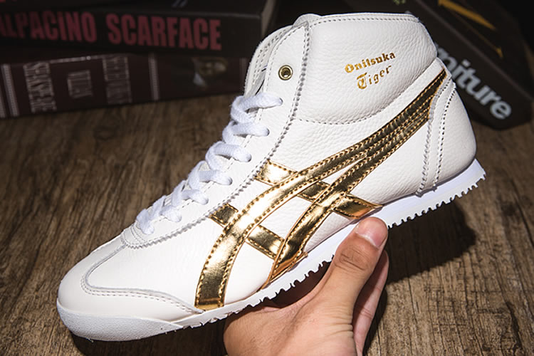 (White/ Gold) Onitsuka Tiger Mid Runner Shoes