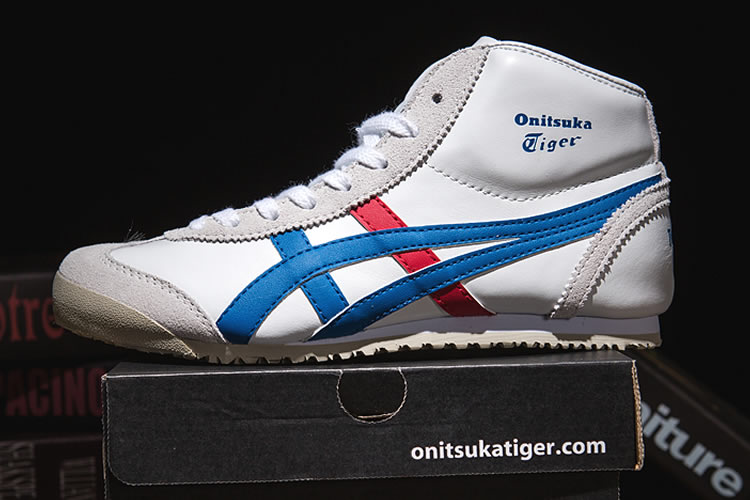 Onitsuka Tiger Mid Runner (White/ Royal Blue/ Red) Shoes
