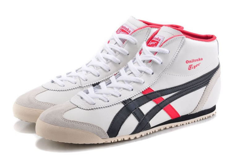(White/ Brown/ Red) Onitsuka Tiger Mid Runner Shoes - Click Image to Close
