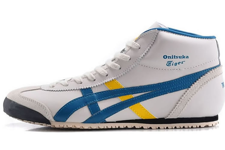 (White/ Blue/ Yellow) Onitsuka Tiger Mid Runner Shoes - Click Image to Close