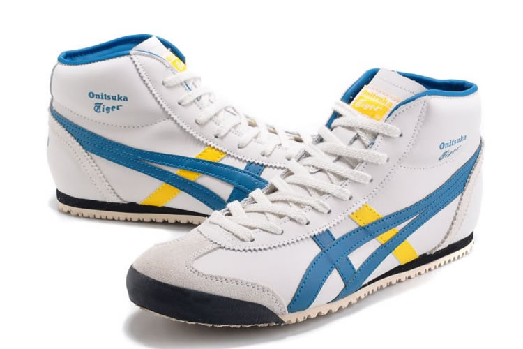 (White/ Blue/ Yellow) Onitsuka Tiger Mid Runner Shoes