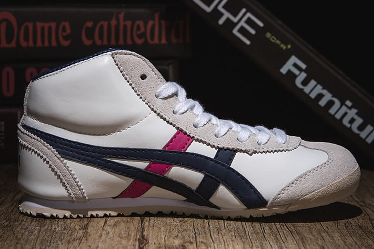 (White/ DK Blue/ Peach) Onitsuka Tiger Mid Runner Shoes