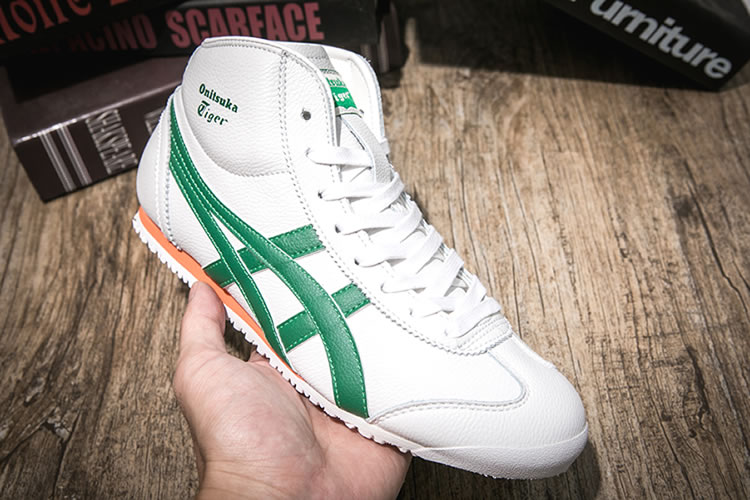 (White/ Green/ Orange) Onitsuka Tiger Mid Runner New Shoes
