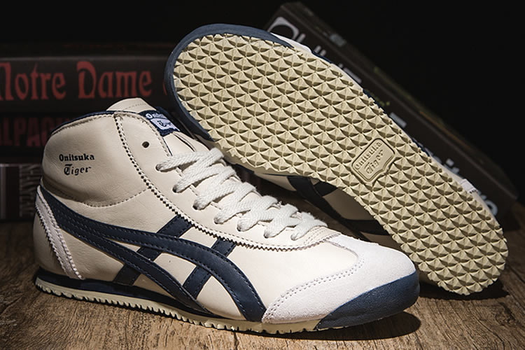 (Beige/ DK Blue) Onitsuka Tiger Shoes Mexico Mid Runner Shoes