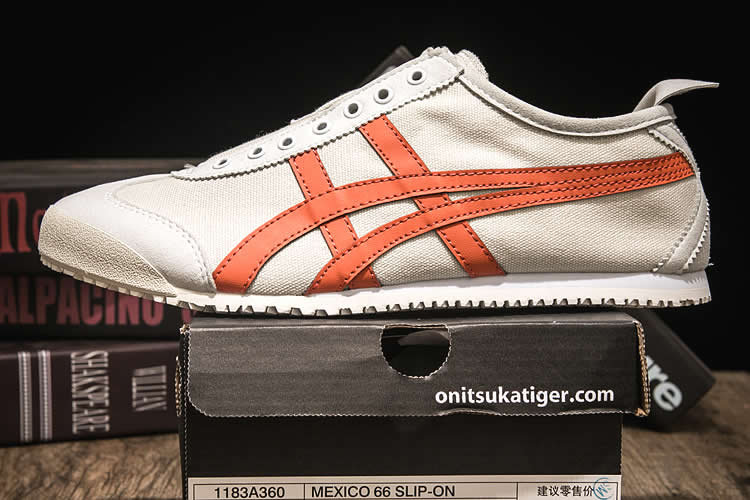 (Beige/ Orange) Onitsuka Tiger Mexico 66 SLIP ON Shoes
