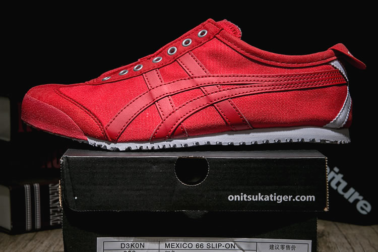 (Red/ Red) Onitsuka Tiger Mexico 66 Slip On Shoes