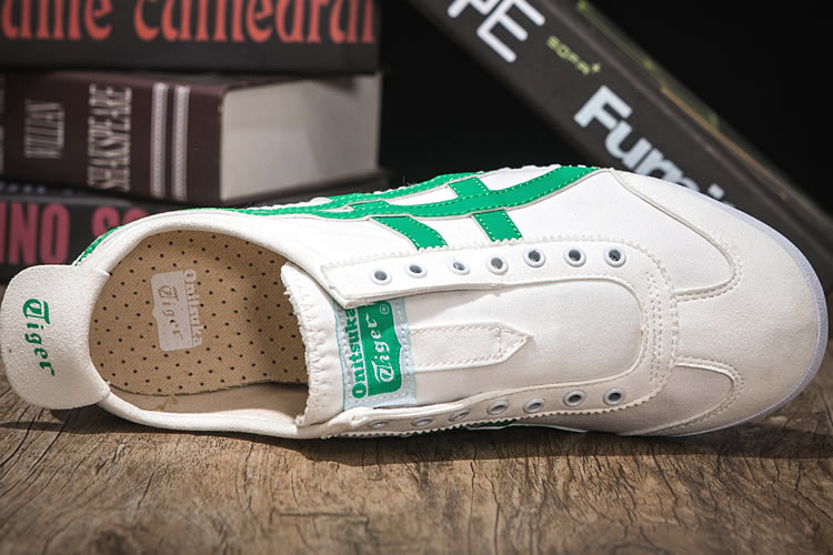(White/ Green) Onitsuka Tiger SLIP ON Shoes - Click Image to Close