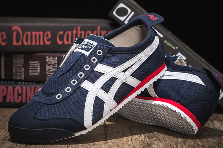(DK Blue/ White/ Red) Onitsuka Tiger Mexico 66 Slip On Shoes