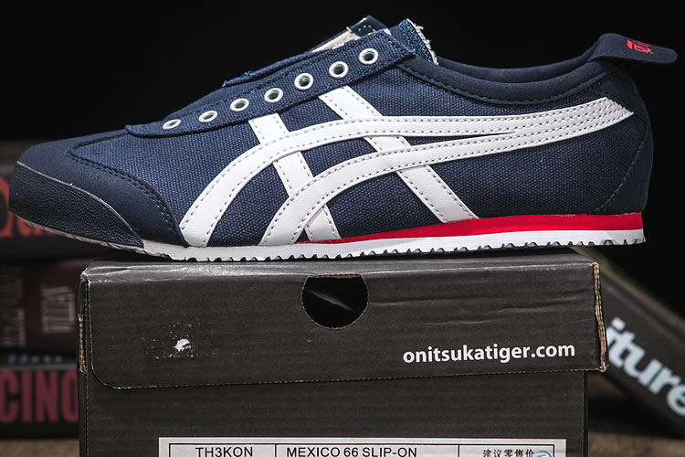 timeless design 65cd5 07c05 DK Blue/ White/ Red) Onitsuka Tiger Mexico 66 Slip On Shoes ...