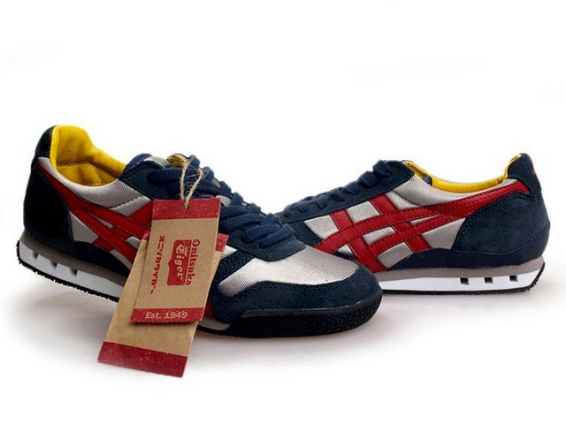 Mens Onitsuka Tiger Ultimate 81 DK Blue Red Silver Shoes