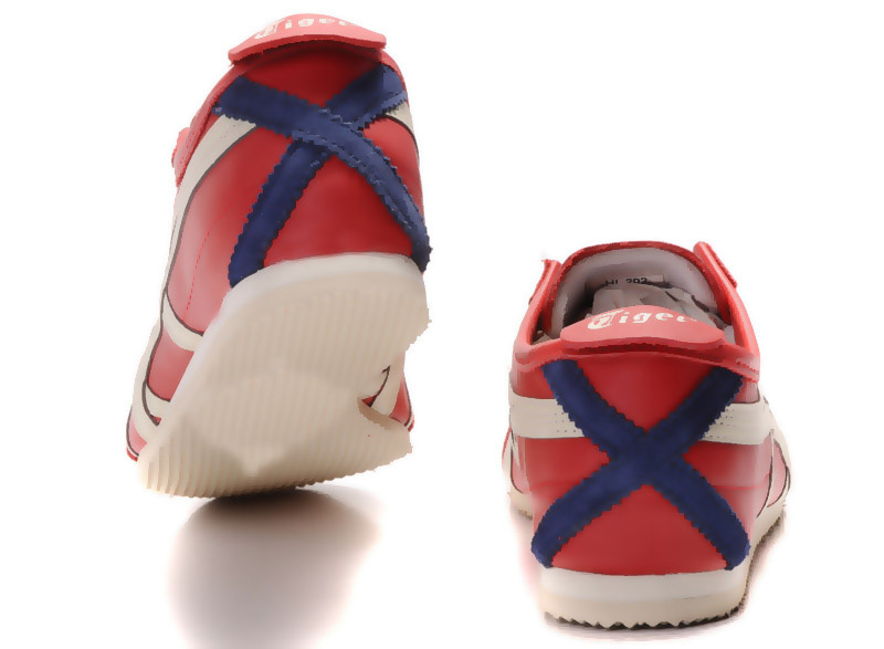 Womens Onitsuka Tiger Red Beige Blue Mexico 66 Shoes - Click Image to Close