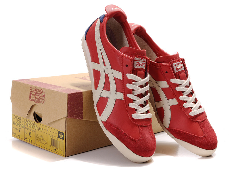 Womens Onitsuka Tiger Red Beige Blue Mexico 66 Shoes