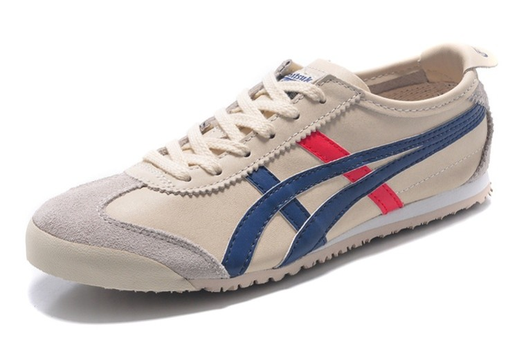Womens Onitsuka Tiger Mexico 66 Beige Blue Red Shoes