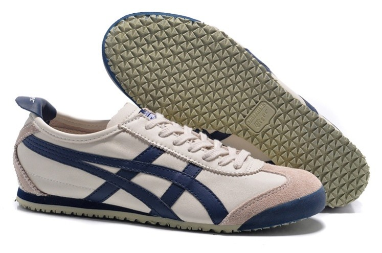 Womens Onitsuka Tiger Mexico 66 Beige/ DK Blue Shoes