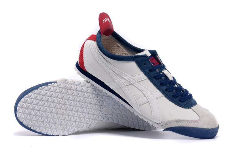 Womens Onitsuka Tiger Mexico 66 White/ DK Blue/ Red Shoes