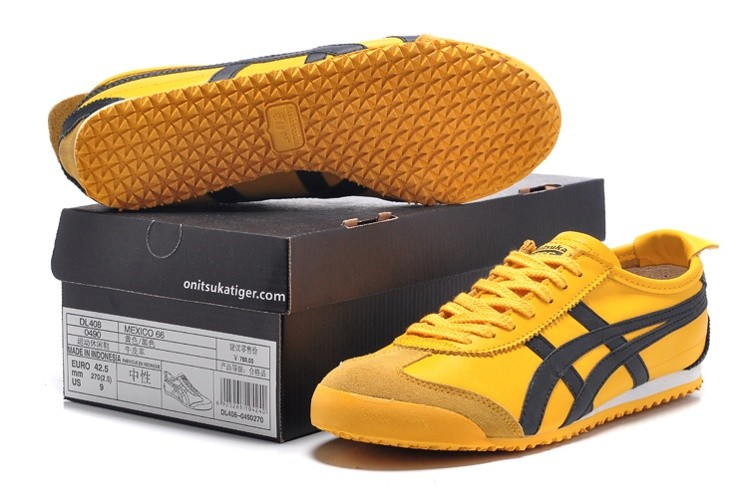 Womens Onitsuka Tiger Mexico 66 Yellow Black Shoes - Click Image to Close