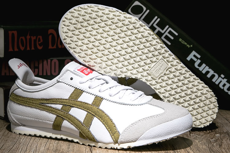 Womens Onitsuka Tiger Shoes (White/ Gold) - Click Image to Close