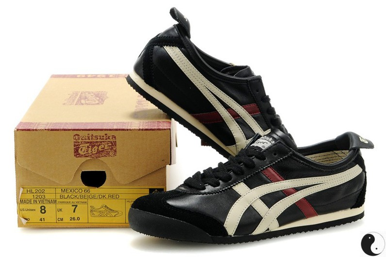 Womens Onitsuka Tiger Mexico 66 Black Beige Red Shoes
