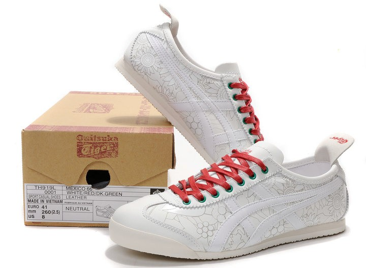 Womens Onitsuka Tiger Mexico 66 Engrave White Red Shoes