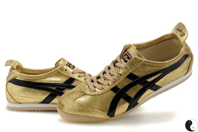 Womens Onitsuka Tiger Mexico 66 Gold Black Shoes  HL202-6672 ... b2eeb5932
