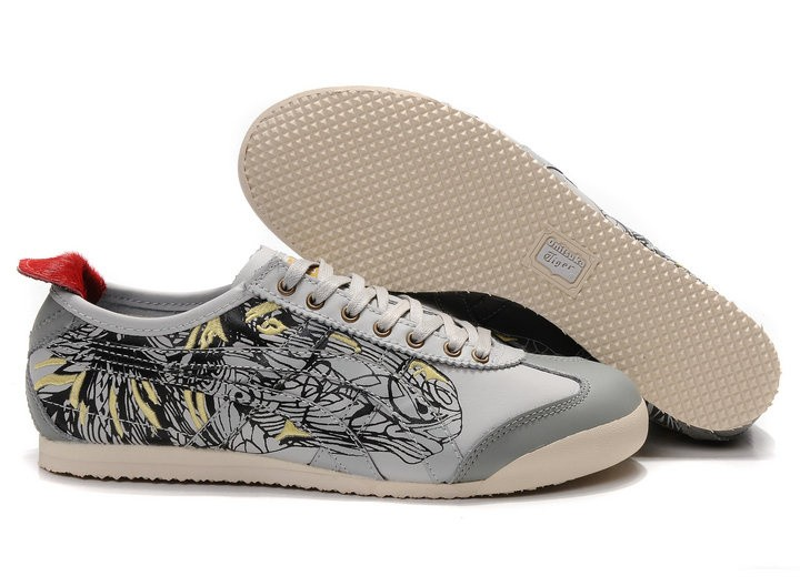 Womens Onitsuka Tiger Mexico 66 Grey Engrave Shoes