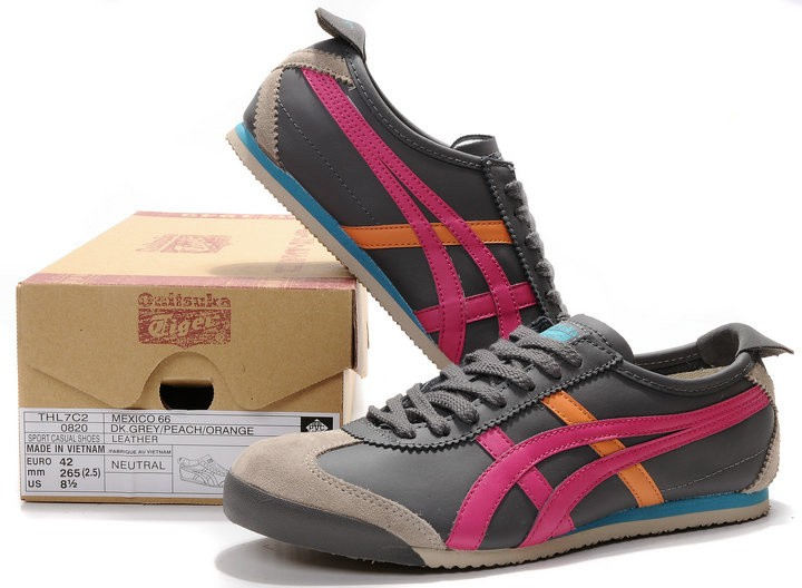 Womens (Grey/ Red/ Orange) Onitsuka Tiger Mexico 66 Shoes