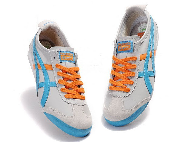 Womens Onitsuka Tiger Mexico Light Grey/ Blue/ Orange Shoes