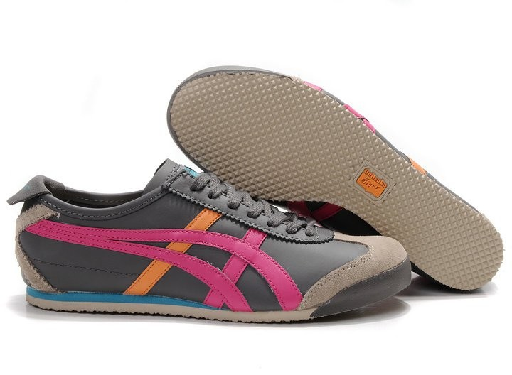 Womens Onitsuka Tiger Mexico 66 Grey/ Red/ Orange Shoes ...