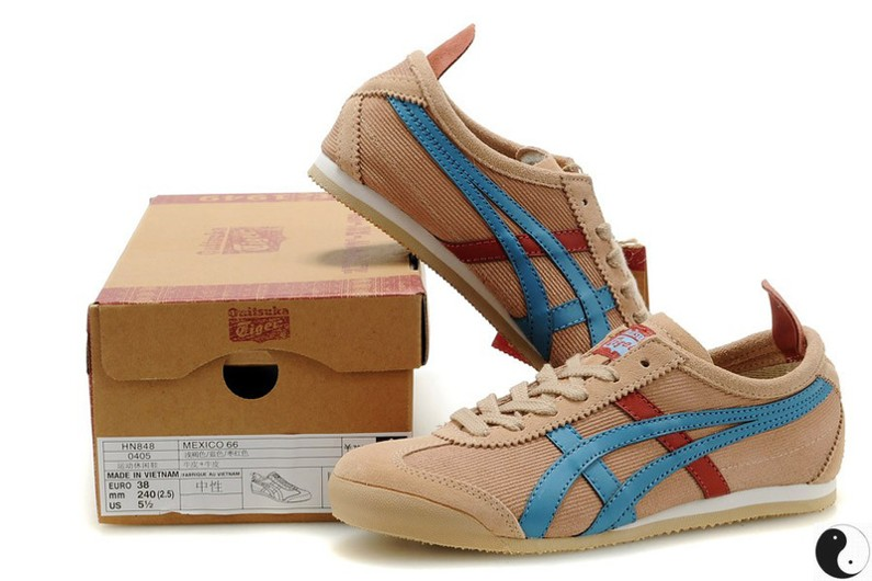 Womens Onitsuka Tiger Tan/ Moon/ Red Mexico 66 Shoes