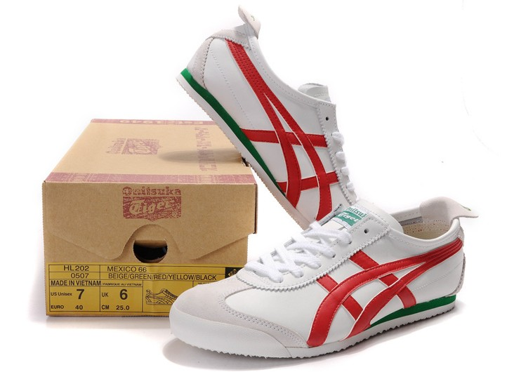 Womens Onitsuka Tiger Mexico 66 White Red Green Shoes  HL202-6674 ... 9bfc37979c