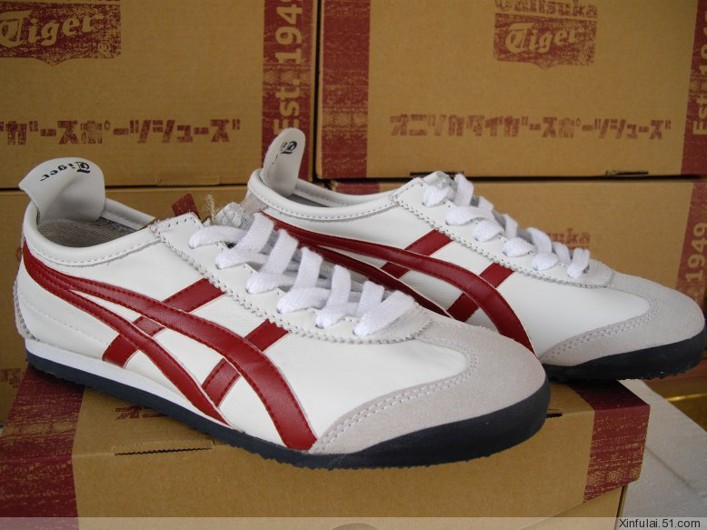 Womens Onitsuka Tiger Mexico 66 White Red Shoes  HL202-6675 ... afdb8b22d0