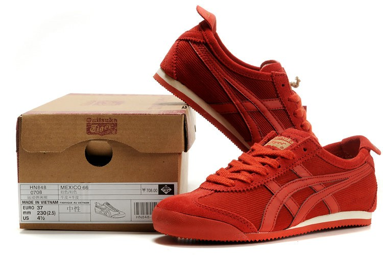 Womens Onitsuka Tiger All Red Mexico 66 Shoes
